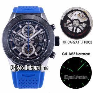 XF CAR2A1T CAL 1887 Automatic Chronograph Mens Watch Black Ceramic Bezel Skeleton Dial Blue Hand Blue Rubber Strap Best Edition Puretime c03