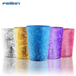 Feijian 400ml Titanium Japanese Insulated Beer Mug Oxidized crystal surface Coffee Cola Tea Juice Cup double wall vacuum mug T200506
