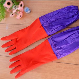 2020 New Waterproof latex glove, Dish washing accessory, Long sleeves Wool rubber gloves with velvet inside for cleaning bowl and dishes