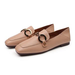 Manera de las mujeres zapatos de los planos se deslizan en los zapatos de cuero de los holgazanes de la marca Square Zapatilla Toe Oficina Señora de calzado casual mocasines Zapatos Mujer