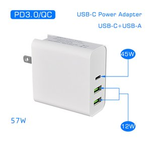 45W PD Charger USB C Power Adapter PD QC3.0 TYPE-C 3Port Wall Charge for USB-C Laptops MacBook xiaomi Samsung Chargers