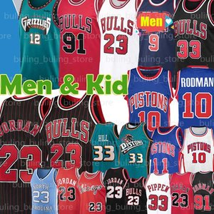 23 Michael Jersey MJ Bull Ja 12 Morant ChicagoTrikots 91 Dennis Rodman 10 33 Scottie Pippen Jesaja 11 Thomas Grant Hill Basketball