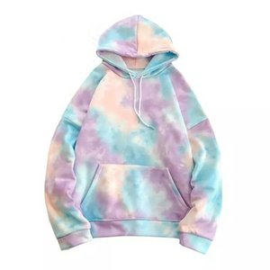 Mens Hip Hop Hoodies moda impresión Tie Dyed Casual Sudadera con capucha Streetwear salvaje suelta Camo Hoodie Hombre Hoody Tops