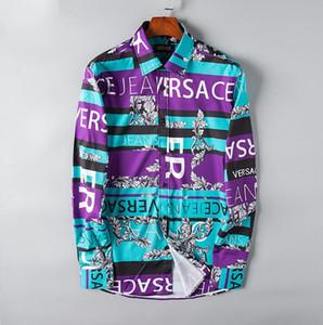 2019 Marke Männer Business Casual Shirt Männer Langarm gestreiften Slim Fit Masculina sozialen männlichen T-Shirts neue Mode Mann überprüft # 6982 Hemd