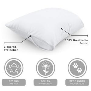 Warmtex Liso poliéster impermeável Pillow Protector Standard Queen King Size fronha para a cama fronha percevejo prova 2PCS caso