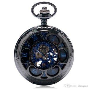 Männer Mechanische Taschenuhren Blume Design Hohl Skeleton Römische Zahl Blaue Uhr Steampunk Anhänger Vatertagsgeschenk Kreative Reloj