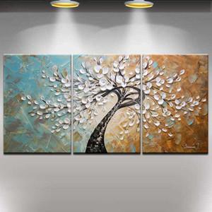 Telaio allungato pronto ad appendere, 100% dipinto a mano moderna astratta Blooming Flowers Albero Coltello Paesaggio Pittura ad olio 3pcs / set Home Decor # 001
