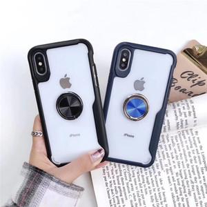 Luxe 2 en 1 hybride avec support de support antichoc transparent cas de téléphone pour iPhone XS MAX XR X 8 7 Plus Samsung S8 S9 Plus Note 9