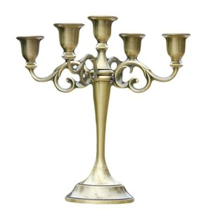 Gold Bronze Black 5-Arms Metal Pillar Candle Holders Candlestick Wedding Centerpieces Decoration Stand Mariage Home Decor Candelabra