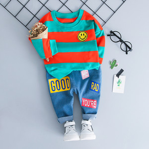 HYLKIDHUOSE Baby Girl Menino Conjuntos de Roupas Rosto Tarja T Shirt Jeans Infantis Roupas Casuais Ternos Roupa Dos Miúdos Crianças Ternos