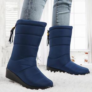Winterstiefel Damen Stiefeletten Female Quaste Schnee Stiefel Schuhe unten Elastic Band Wedges Damen Warm Botas