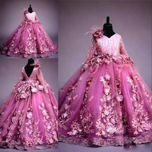 Yeni Uzun Kollu Çiçek Kız Elbise Düğün İçin Fuşya 3D Çiçekler Prenses Parti Kıyafeti Lüks Balo Küçük Kızlar Pageant elbise