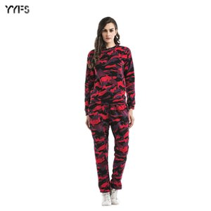 2020wish Large Size Womens Spring Camouflage Set Two-Piece Velvet round Neck Sweater Pants Sports Shirt Women
