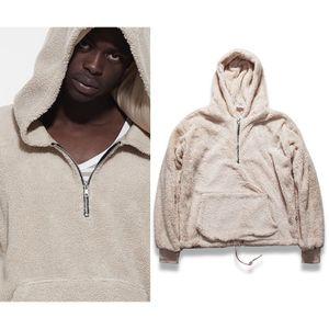 Бежевый Sherpa Мужские толстовки Hip Hop Половина Zipper Пуловер толстовки Winter Streetwear Мужчины с длинным рукавом Толстовка