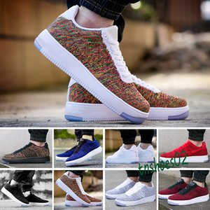 wholesale 2019 Men Women Low Cut one 1 shoes White Black Dunk Skateboarding Shoes Classic fly Trainers high knit air Sneakers 36-45 n46