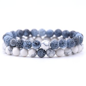 2Pcs Set Couples Distance Bracelet Classic Natural Stone 18 styles Beaded Bracelets for Men Women Best Friend