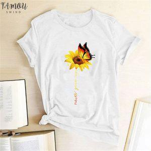 Aesthetic Give Women Shirt Sun Never Womens Harajuku Femme T Flower Butterfly White Tshirt Shirt T Cotton Up Graphic Wvewv