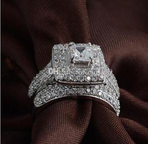 Fine Luxury Jewelry принцесса вырезать 14kt белого золота пресыщается Топаз Gem моделировали алмазы женщины Свадьбы обручального кольца набор подарок.