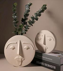 Kreatives Design Blumentopf Nordic-Gesichtsmuster Keramik Vase Ornamente für Keramik Blumen-Topf Pflanz