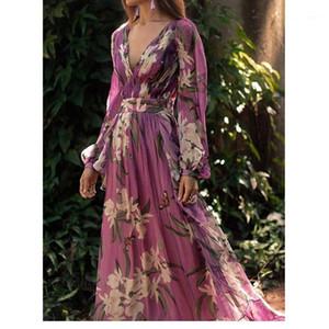 Abito in chiffon vita in giù Flora Stampa manica lunga Fashion Dress Famale Abbigliamento casual donna con scollo a V