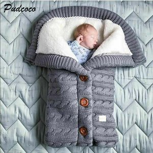2019  Newborn Baby Winter Warm Sleeping Bags Infant Button Knit Swaddle Wrap Swaddling Stroller Wrap Toddler Blanket