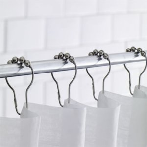 12Pcs Set Bathroom Accessories Five Beads Gourd Shaped Hook Metal Antirust Rust Shower Curtain Hooks Hook Gold and Silver