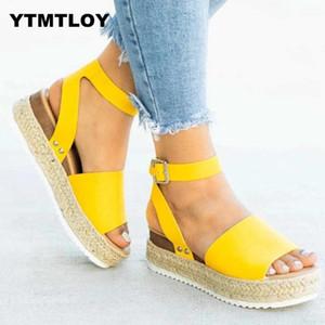 HOT-Sandelholz-Frauen-Keil-Schuh-Pumpen-Absatz-Sandelholz-Sommer-Flip Flop Chaussures Femme Plateau Sandalen Sandalia Feminina