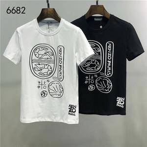 2020Summer imprimir T-shirt Homens Estilo New Metade Manga Europa Cotton Causal anti-rugas do pescoço de grupo Branco Preto Vermelho # 801