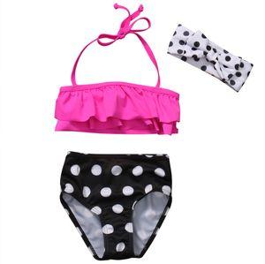 Cute Toddler Baby Girls lunares diadema volantes Halter traje de baño Bikini Set traje de baño traje de baño Tankini ropa de playa