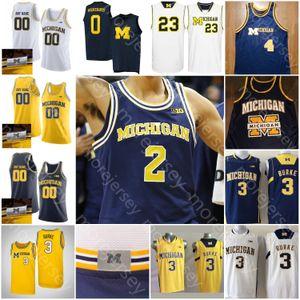Camiseta de baloncesto Michigan Wolverines personalizada NCAA College Rice Webber LeVert Crawford Howard Rose Brandon Johns Jr.