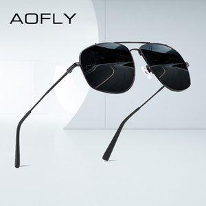 AOFLY Fashion Sunglasses Men Polarized Driving Anti-Glare Lens Oversized Square Metal Sun glasses Male UV400 zonnebril heren