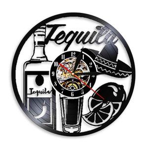 Tequila Vinyl Record Wall Clock Bar potable Pub mur Connectez-vin Guy cadeau