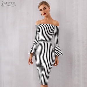 Adyce 2019 neue sommer frauen verband dress sexy flare hülse weißschwarz club dress vestido elegante promi abend party