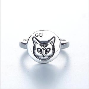 Blind for love 925 sterling silver fashion retro kitten ring index finger ring for women and men ring