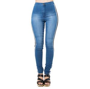 Slim Jeans per le donne Skinny a vita alta in denim dei pantaloni della matita Striscia di vita Stretch Dal Lato Work Party Pants