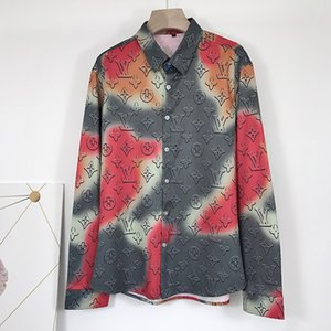 Autumn and winter new boutique fashion luxury silk printing men casual long-sleeved shirt loose casual m