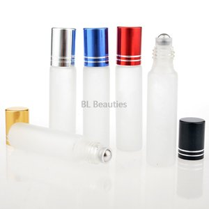 500pcs lot 10ml Frosted Glass Roll On Essential Oils Perfume Bottles Stainless Steel Roller Ball 1 3oz