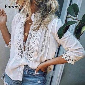 Fanbety 5xl sexy sommer spitze aushöhlen bluse tops damenmode drei viertel hülse bluse blumenhemden haut femme plus größe