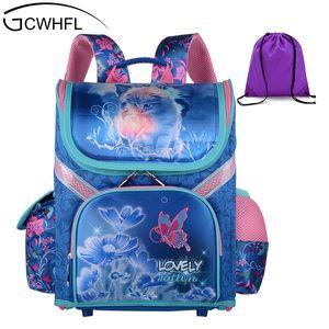 Gcwhfl filles école sacs à dos enfants sacs d'école orthopédique sac à dos chat papillon sac pour fille enfants sac à dos mochila Y19062401