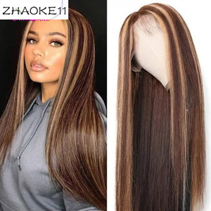 #4 30 Highlight Colored Human Hair Wigs Pre Plucked Lace Front Human Hair Wigs Ombre Remy Frontal Wig For Black Women