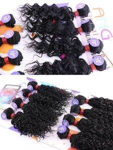 смешанные переплетения волос Парики де Cheveux humains утка 8шт расслоения кудрявого расширение вьющихся волос 10inch коротких синтетическое плетение волос для Marley
