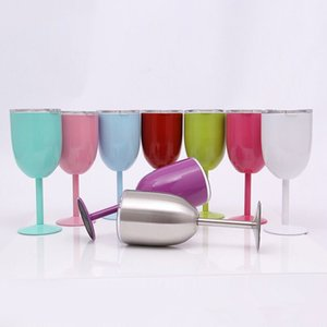 Cups Party Stainless Colored Tumber 9 Colors 10oz Wine Glass Double Wall Insulated Metal Goblet With Lid Tumbler Wine Mugs