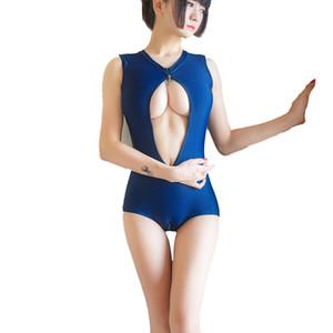 Hot japonais Sukumizu école maillot de bain maillot de bain féminin mai Feminino costume de bain Sexy Bikini Deux Zipper Avec Pad
