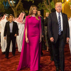 Sevintage fúcsia árabes celebridades Vestidos de noite com Cabo até o chão Dubai Tapete Vermelho Vestido Prom Vestidos Abendkleider