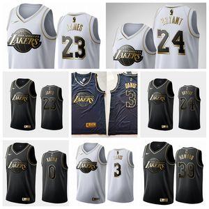 Los AngelesLakersMen LeBron James 24 KB Anthony 23 Davis Black White Golden Edition Basketball Swingman Jersey