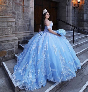 Stunning Bahama Blue Quinceanera Sweet 16 Dresses Sequins Lace Applique Strapless Lace-up Remove Short Sleeve Prom Ball Gowns Graduation 7th