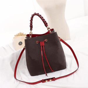 Newset NEONOE Woven Griff Bucket-Geldbeutel Frauen-Handtaschen-Schulter-Beutel Printing Flowers Tote Einkaufstasche Messenger Bag Umhängetasche