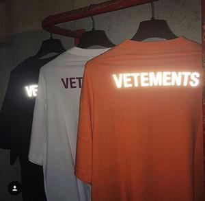 19SS Logo réfléchissant 3m Vetements T-shirt Hip Hop rue Skateboard T Hommes Femmes Casual Mode classique à manches courtes d'été