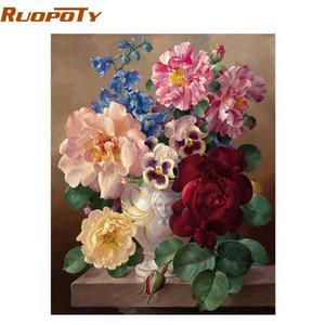 RUOPOTY quadro de pintura mágica DIY flor By Numbers Pintura de parede Arte abstrata Oil mão tela pintada Imagem Para Casa Decor
