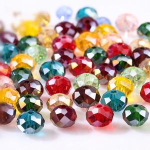 4 6 8 milímetros Checa soltos Rondelle Contas de Cristal Para fazer jóias Diy Needlework AB Cor Spacer Vidro lapidado pérolas no atacado